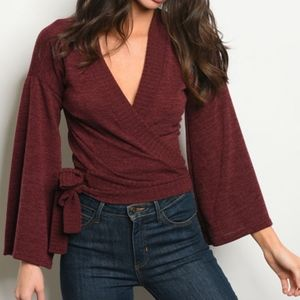 LAST 1! BURGANDY WINE SWEATER WRAP TOP!